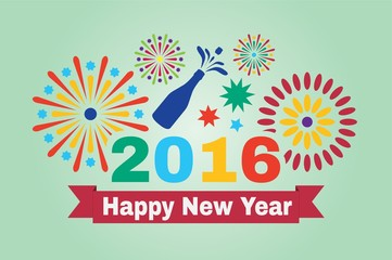 Happy New Year 2016. Inscription and fireworks in vector illustration.