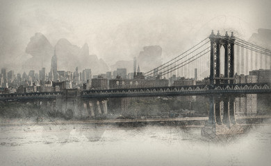 Vintage style monochromatic panorama of New York