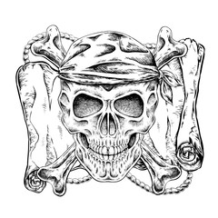 hand drawn pirate skull