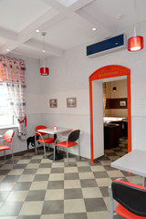 Fragment of an interior of modern cafe. Stylization under London