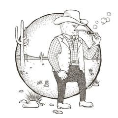eagle cowboy coloring page