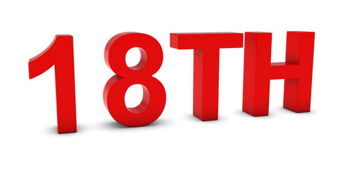 18TH - Red 3D Eighteenth Text Isolated on White