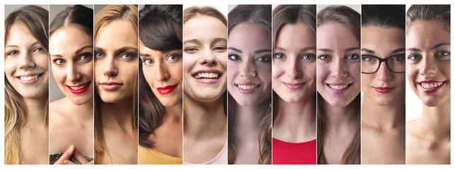 Happy women smiling
