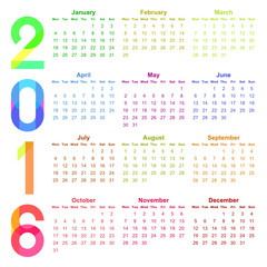 2016 year colorful vector calendar