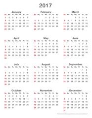 2017 calendar simple sundays first, format high