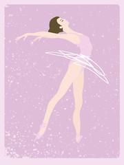 Elegant vector ballet dancer on a retro background.