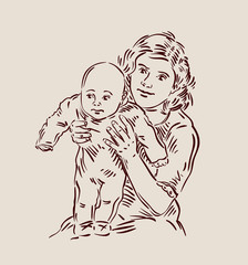 hand-drawn young mother with a baby. sketch. vector illustration