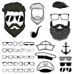 Hipster hair and beards. set of design elements