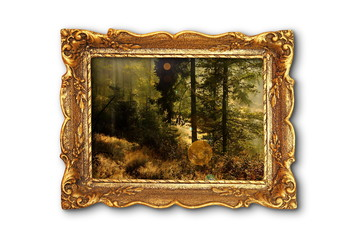 image of beautiful forest in wooden painting frame
