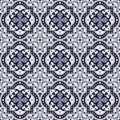 Seamless background image of vintage blue tone round curve square kaleidoscope pattern.