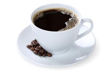 Schwarzer Kaffee in Tasse Freisteller