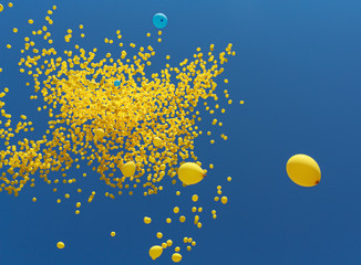 Flies in the sky yellow balls. Abstract background