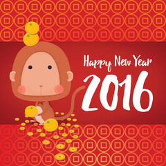 Vector Illustrator of Monkey in Chinese Zodiac with Oranges, coins Background for 2016 New Year Celebrate Greeting Card