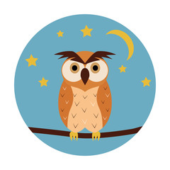 Night owl circle icon