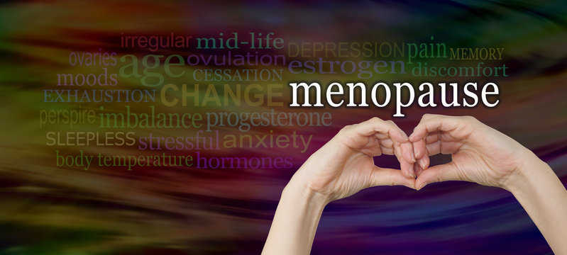Take a look at the signs and symptoms of menopause -  female hands making a pair of eyes with the word Menopause above, surrounded by a relevant word cloud on a wide dark background