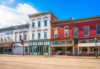 Downtown storefronts in small American town