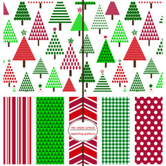 Repeating patterns for digital paper, scrapbooking, cards, invitations, gift wrap and paper backgrounds. File includes: christmas tree print, stripes, polka dots, gingham, triangles and chevron.