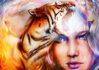 painting mighty tiger and lion head on ornamental background and mystic woman face, computer collage.