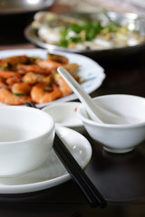 Chinese dishes during lunch time