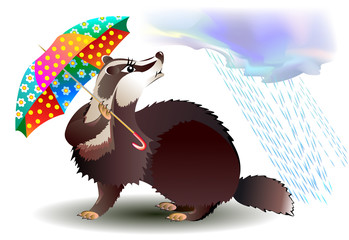 Little badger holding umbrella, vector cartoon image.