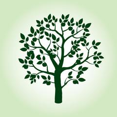 Green Apple Tree. Vector Illustration.