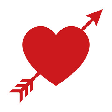 Lovestruck or arrow through heart flat icon for apps and websites