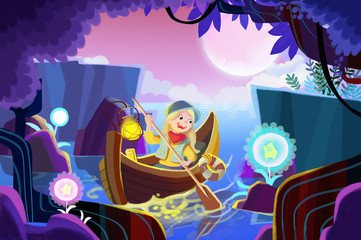 Illustration for Children: The Girl Went for a Row to Pick Spirit Flowers in the Secret Forest. Realistic Fantastic Cartoon Style Artwork Scene, Wallpaper, Story Background, Card Design