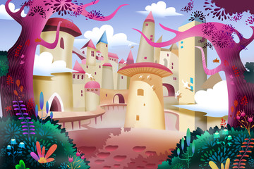 Illustration: Forest Castle. Realistic Fantastic Cartoon Style Artwork Scene, Wallpaper, Story Background, Card Design