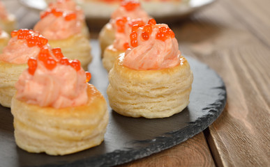 Canape with salmon mousse