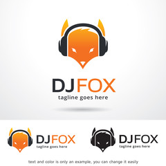 DJ Fox Logo Template Design Vector
