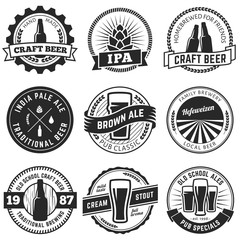 Set of vintage craft beer labels and emblems. Vector beer badges
