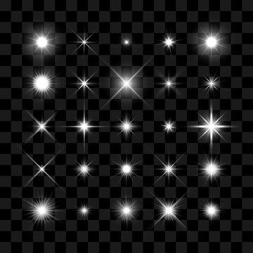 Starburst, stars and sparkles glowing burst
