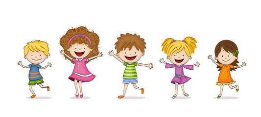 Four funny Cartoon Kids