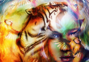 painting mighty lion and  tiger head, and mystic woman with bird, ornament background. computer collage, profile portrait, eye contact.