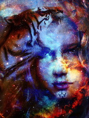 Goodnes woman and tiger in space with galaxi and stars. profile portrait, eye contact.