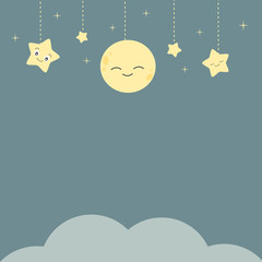 cute vector cartoon night background with stars moon and cloud