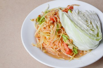 Spicy Papaya Salad Thailand healthy food