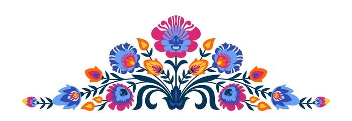 Polish folk papercut style flowers Wall mural