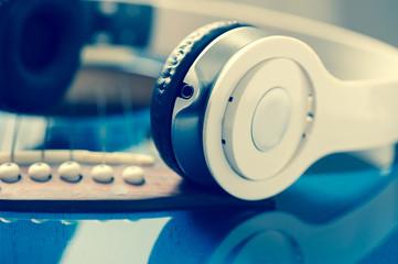 Instrument guitar and headphones
