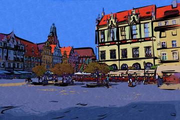 Wrocław city miasto retro vintage