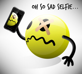 Selfie photo of sad emoticon character with mobile smart phone. Vector illustration.