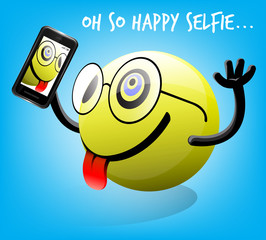 Selfie photo of happy emoticon character with mobile smart phone. Vector illustration.