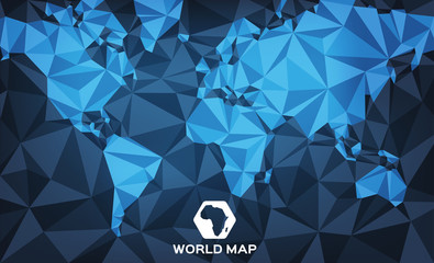 Abstract World Map with angular shapes and shades of blue. Vector illustration.