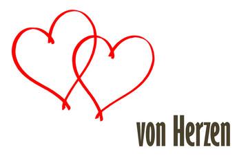 Von Herzen - Zeichnung mit Text