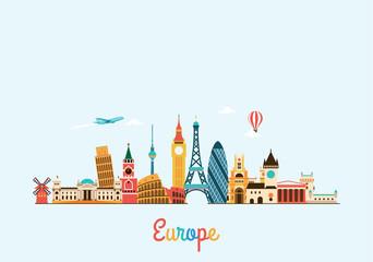 Europe skyline. Travel and tourism background.  - fototapety na wymiar