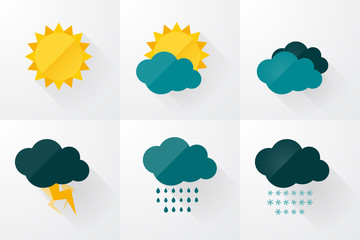 Fototapeta set of weather vector icons flat design