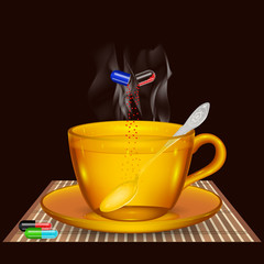 a cup of tea with the medicine