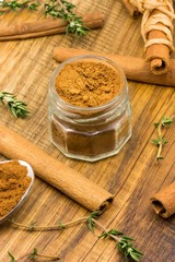Cinnamon and green thyme