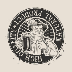 fresh cold beer. stamp