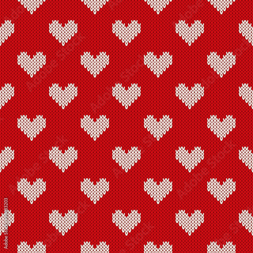 Seamless Knitted Pattern With Hearts Valentines Day Background